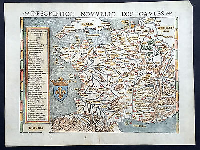 1545 Munster Ptolemy Antique Map of France