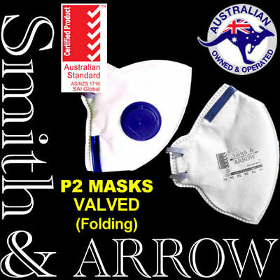 20 x P2 FLAT FOLD FACE MASK SAFETY DISPOSABLE VALVED VALVE DUST PAINTING FOLDING