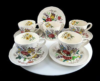 """Copeland Spode Gainsborough 5 Floral Demitasse 2 3/8"""" Cup And Saucer Sets"""