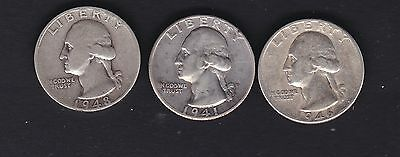 USA 3 silver 1/4 dollars, 1941d,46 & 48s