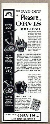 1963 Print Ad Orvis Model 300 & 350 Fishing Reels Made in Manchester,VT