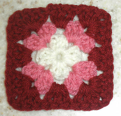 65 Hand Crocheted 4x4 Granny Squares in Burgundy, Dusty Rose and Off White