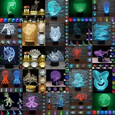 New 3D Night Lights Octopus Visual 7 Colors Changing LED Bedroom Home Lamp Decor
