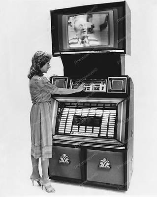Jukebox Video Music Entertainment Center Vintage 8x10 Reprint Of Old Photo