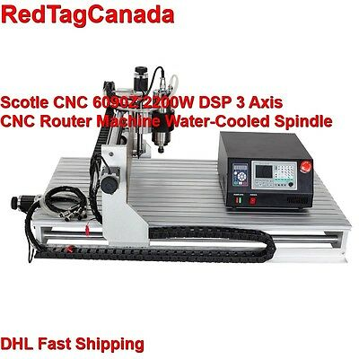 Scotle CNC 6090Z DSP 2200W 3 Axis Spindle Router Water-Cooled Spindle machine