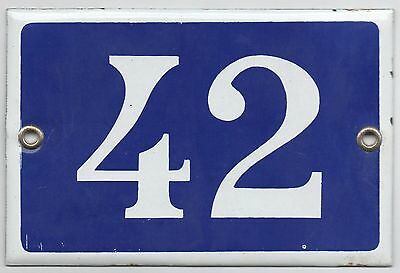Old blue French house number 42 door gate plate plaque enamel metal sign steel