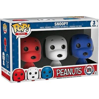 Funko POP! Minis PEANUTS SNOOPY Rock the Vote 3-PACK Vinyl Figure LIMITED