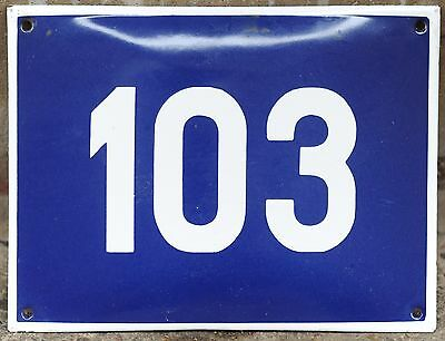 Big blue French house number 103 door gate plate plaque enamel steel metal sign