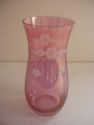 """Amethyst Glass Vase ~Etched Floral Decoration ~Bohemia ~6.25"""" In Height"""