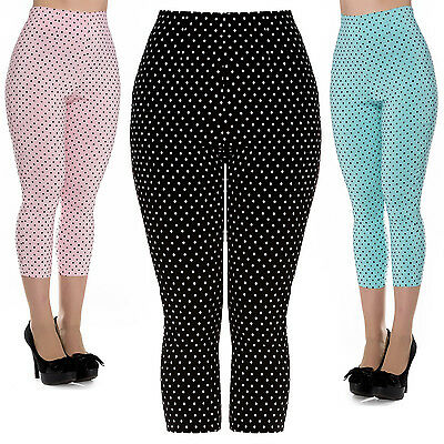 Hell Bunny Polka Dot Pedal Pushers 1950s Rockabilly High Waist Capri Trousers