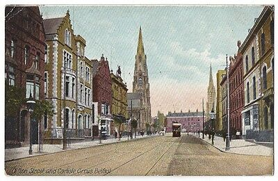 BELFAST Clifton St & Carlisle Circus, Postally Used Postcard by Lawrence c1908