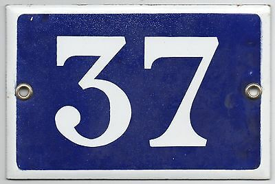 Old blue French house number 37 door gate plate plaque enamel metal sign steel