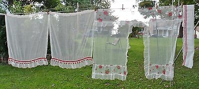 Lot Of Vintage Curtains White Gauze Ruffles Red Roses Pattern Red Balls Trim
