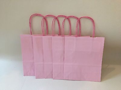 10 X Small Pink Paper Gift Bags With Handles 22cm X 18cm