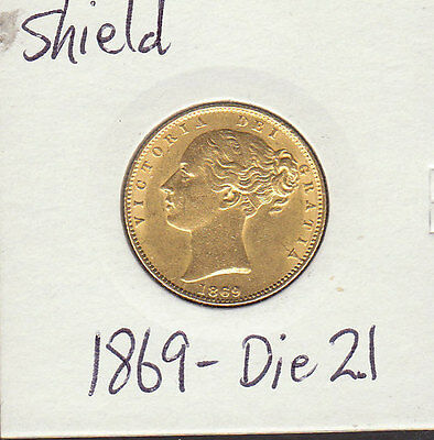 1869   VICTORIA YOUNG HEAD.SHIELD REVERSE  sovereign