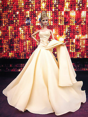 Eaki Cream Chiffon Silkstone Barbie Fashion Royalty Evening Dress Outfit Gown FR