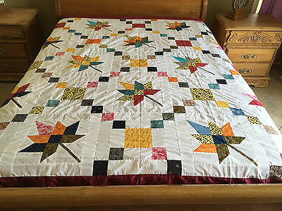 machine pieced maple leaf patchwork  quilt top#1967