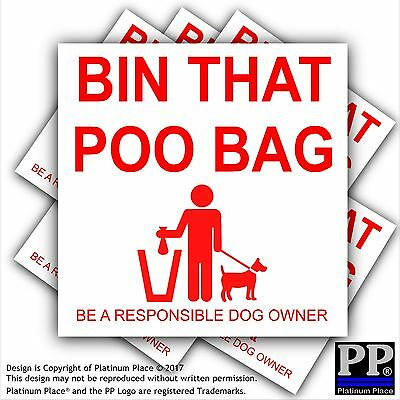 6 x Bin That Poo Bag Warning Stickers-Poo Mess,Dog,Pet,Puppy Self Adhesive Signs