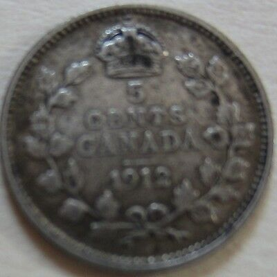 1912 Canada Silver Five Cents Cent Coin. NICE GRADE (RJ271)