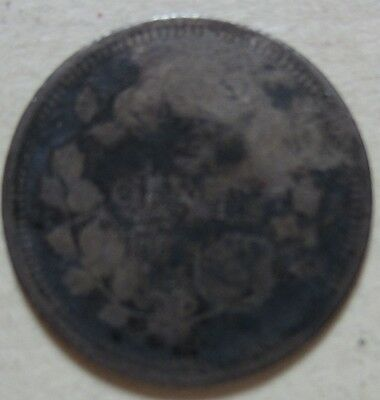 1858 KEY DATE Canada Silver Five Cents Coin. (F486)