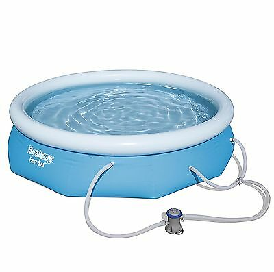 """Bestway 10' x 30"""" Fast Set Inflatable Above Ground Swimming Pool w/ Filter Pump"""