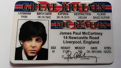 The Beatles - Paul McCartney Drivers License / ID Card - Novelty