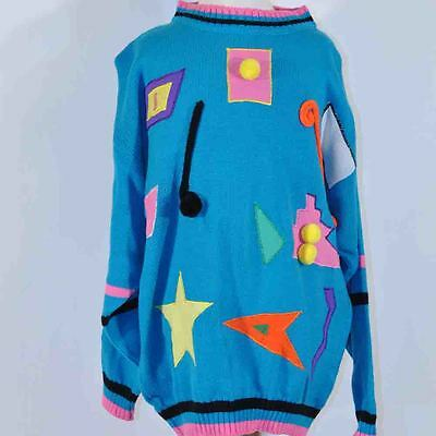 Vintage 80' 90's Oversized Blue Pom Pom Applique Oversized Sweater 14