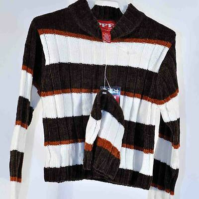 Vintage 80' 90's Brown Stripe Sweater Matching Beanie Hat M