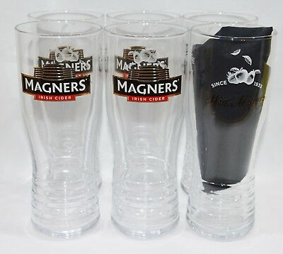 MAGNERS IRISH CIDER CIDRE 6 Verres 50 cl pinte bas cannelé NEUF
