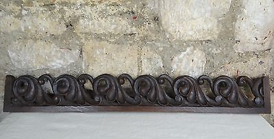 "33""French Antique Pediment/Trim Pieces in Oak Salvage/Hand Carved Oak 19th Waves"