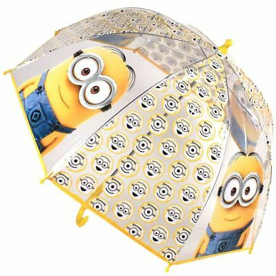 Minions Yellow Dome Bubble Umbrella Kids Boys Girls School Brolly Travel Rain