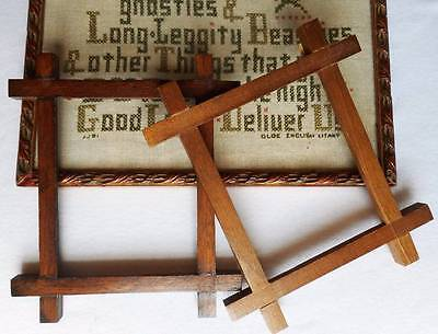 2 Vintage Wood Wooden Country Cross Stitch Picture Sampler Needlework Frames Lot