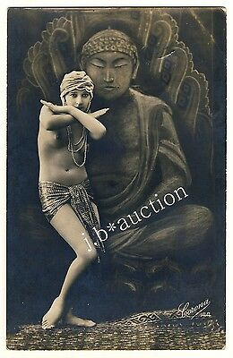 NUDE ART DECO DANCER IN FRONT OF BUDDHA PAINTING * Vintage 20s Risque Photo