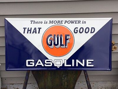 GULF~There Is More Power In That Good Gulf Gasoline~EMBOSSED~METAL SIGN LICENSED