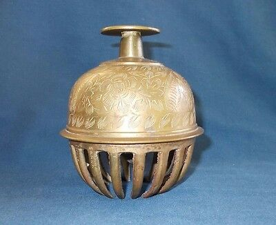 Beautiful Vintage Large Etched Engraved Brass Elephant Claw Bell 4.75 Inch Tall