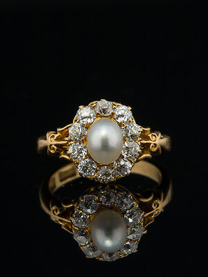 EDWARDIAN SALTWATER PEARL AND 1.29 Ct DIAMOND CLUSTER RING