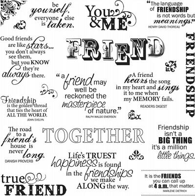 Friends Forever Quotes Fiskars Clear Acrylic Stamp Set 01 005544 New