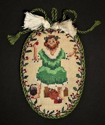 Old World Santa Claus Finished Completed Beaded Christmas Ornament Cross Stitch