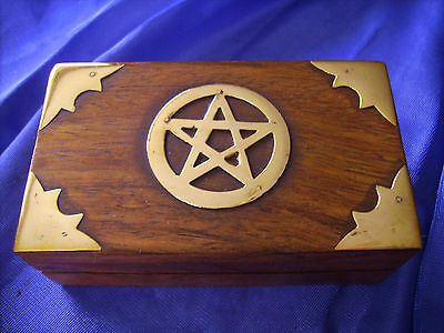 Wooden And Brass Crystal Pentagram Pagan, Wicca, Box
