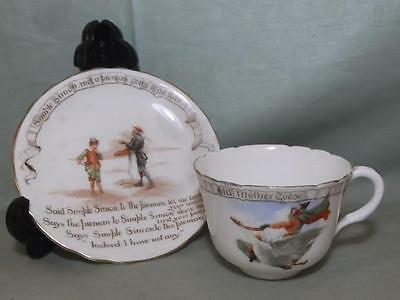 Vintage Royal Doulton Nursery Rhyme Cup & Saucer  Simple Simon & Mother Goose