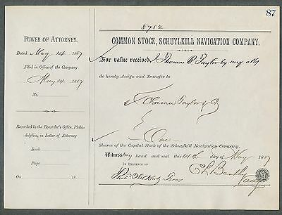 1887 Schuykill Navigation Company  Stock Transfer