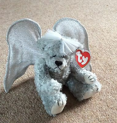 """TY ATTIC TREASURE BEAR, """"Sterling"""",  with Wings, Rare Bear, Tag & protector."""