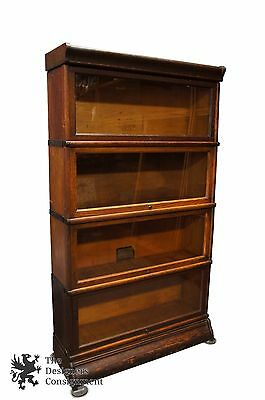 "Globe-Wernicke 4 Shelf Glass Front ""Elastic"" Barrister Bookcase Lawyer Stacking"