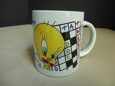 1997 Warner Bros Looney Tunes Coffee Mug Cup Tweety Bird Crossword Puzzle Trivia