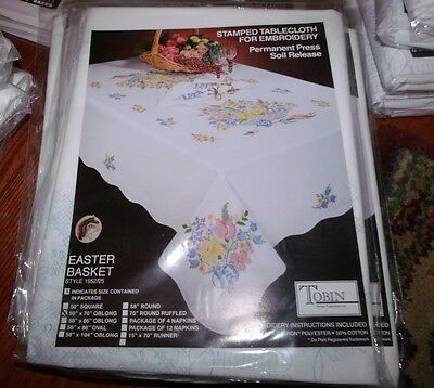 """Tobin Stamped Cross Stitch Embroidery Tablecloth Floral EASTER BASKET 50"""" x 70"""""""