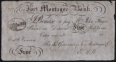 SKIT NOTE - 18-- FORT MONTAGUE BANK 5 HALF PENCE UNISSUED * gF *