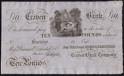 1800's CRAVEN BANK £10 BANKNOTE * UNISSUED REMAINDER * aUNC *Ref 2 * Outing 366a