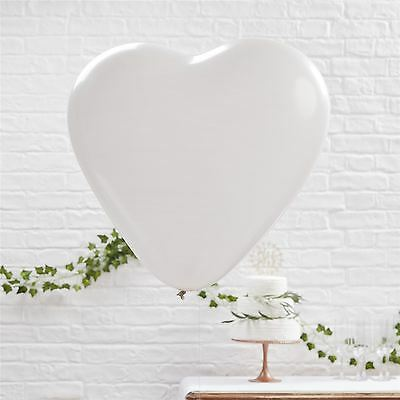 "Large Giant 36"" White Heart Shaped Balloons Helium Latex Wedding Valentines 3"