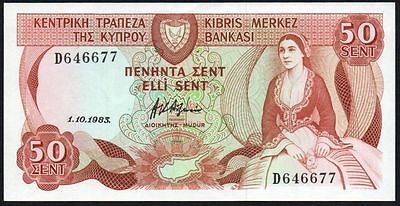 1983 CYPRUS 50 CENTS BANKNOTE * D 646677 * gEF * P-49 *