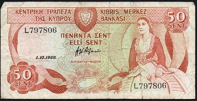 1988 Cyprus 50 Cents Banknote * L 797806 * F * P-52 *